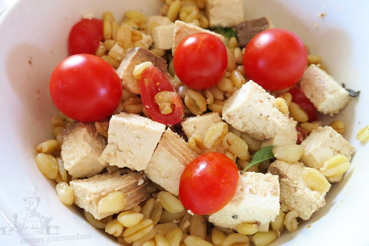 Salade de blé au tomate cerise et tofu 1