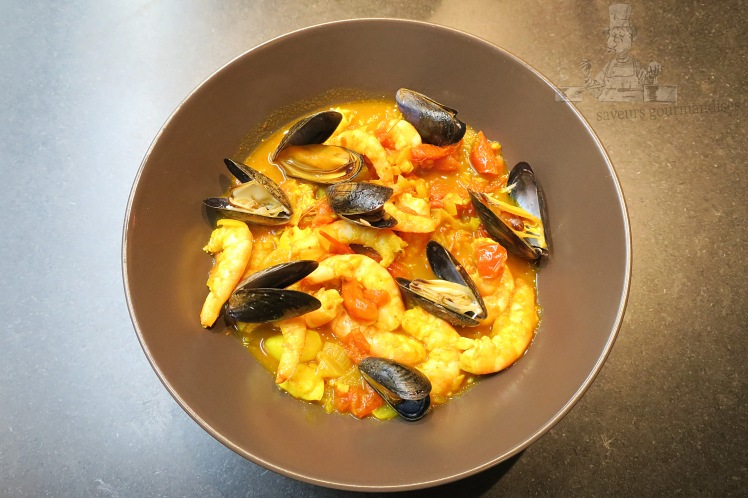 Crevettes, moules façon rougail