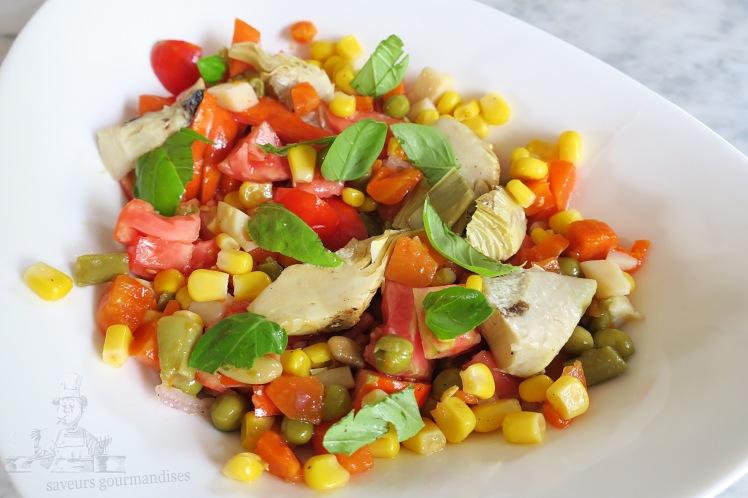 Salade tomate, mais, macédoine, artichaut 1