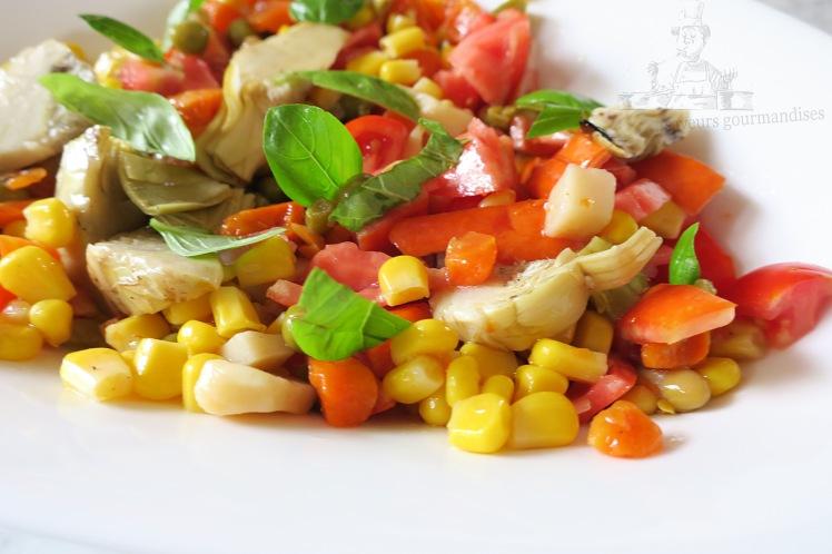 Salade tomate, mais, macédoine, artichaut 2