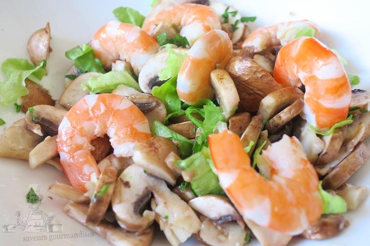Salade aux champignons de paris et crevettes 1