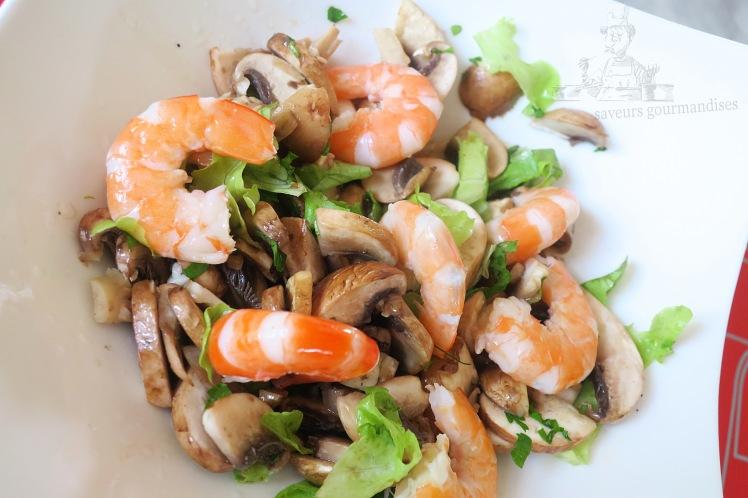 Salade aux champignons de paris et crevettes 2