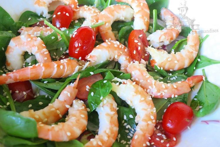 Salade de pousse d_épinard aux crevettes, fenouil, et tomate 1