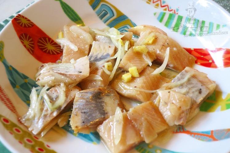 Hareng mariné au gingembre, oignon et poivre de Sichuan 2